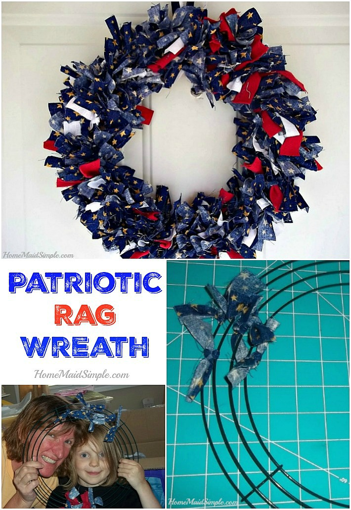 Share your countries pride with a Patriotic Rag Wreath. So easy the kids can help out!