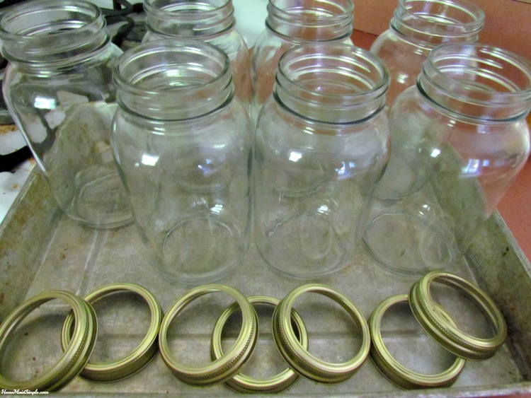For home canned pears, sanitize jars and rings in the oven at 250 F for 20 minutes.