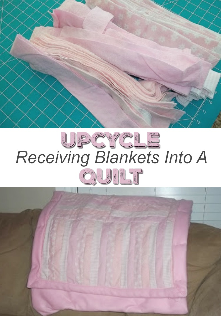Upcycle receiving blankets into a quilt. It becomes an heirloom your child will love forever.
