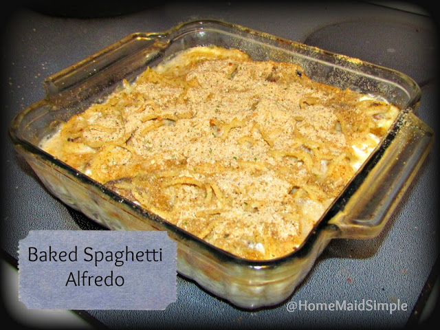 Baked Spaghetti Alfredo turns leftovers into another family favorite recipe