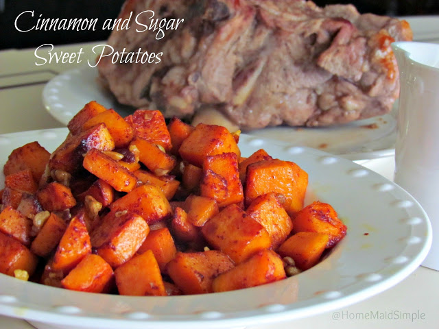 Cinnamon and Sugar Sweet Potatoes offer a healthier side to your Sunday dinner.
