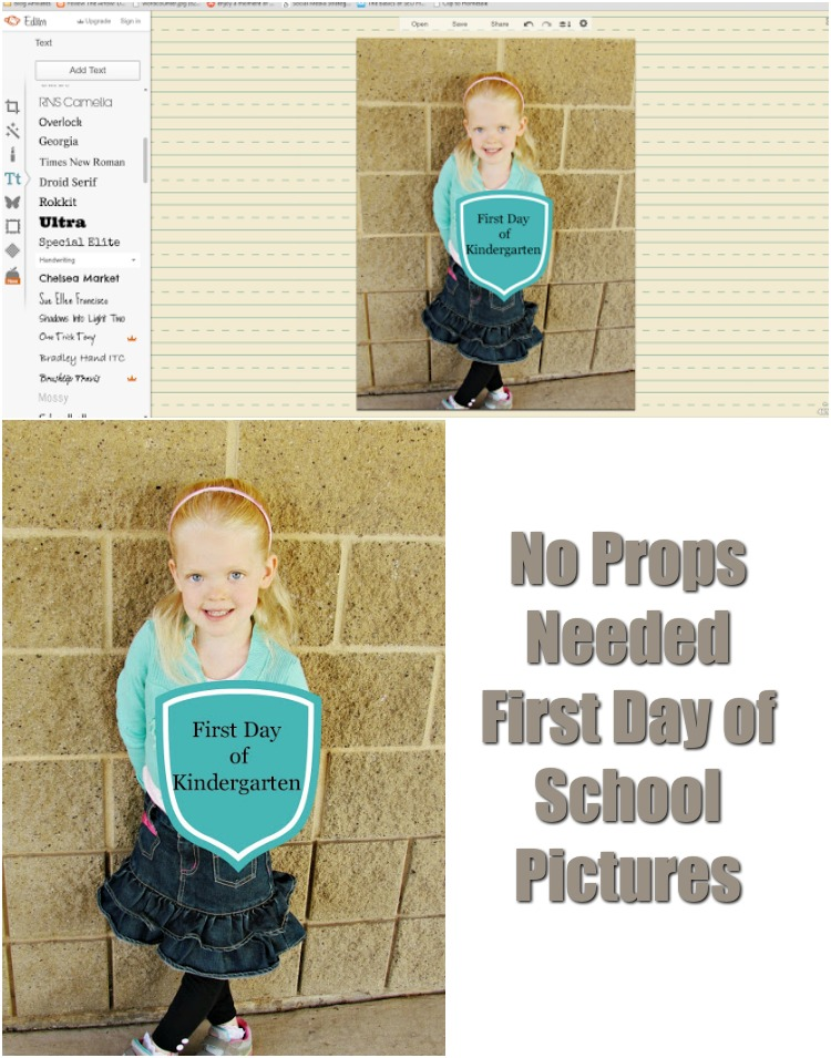 Turn your First Day of School Pictures into a memory without props! All you need is Picmonkey. ad