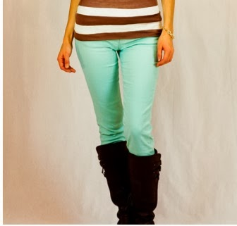 Winter mint skinny jeans from Hannah Jane Boutique $16.99
