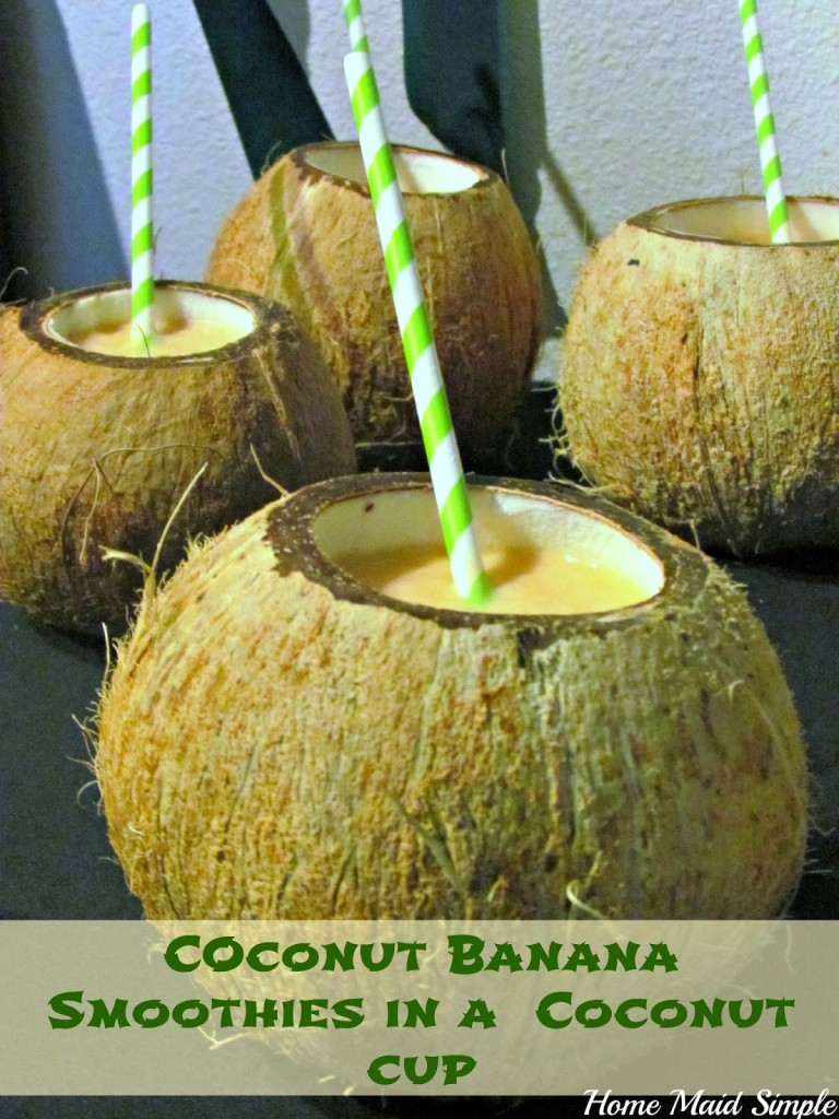 Coconut Banana Smoothies in a Coconut Cup for any Jungle Book party #JungleFresh #shop