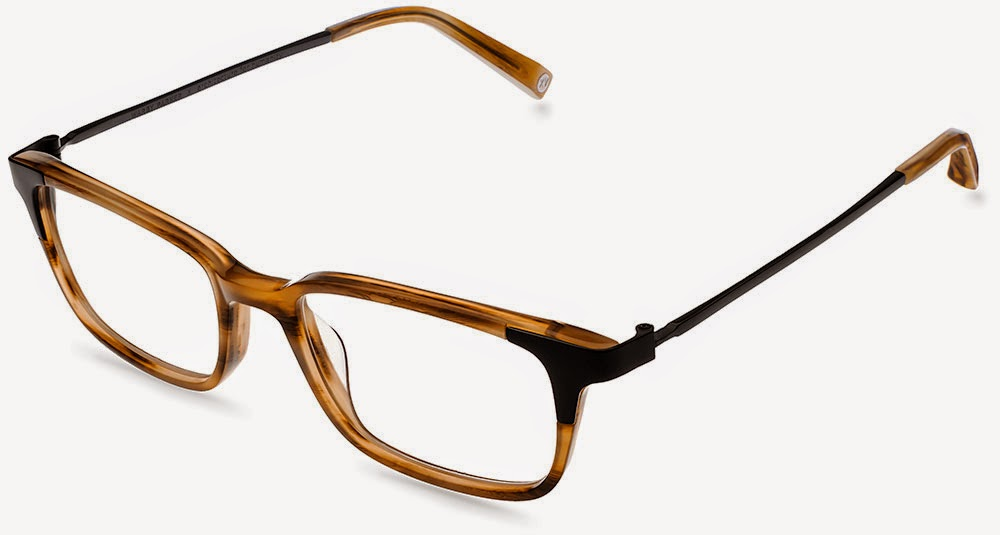 Warby Parker Aslin oak glasses.