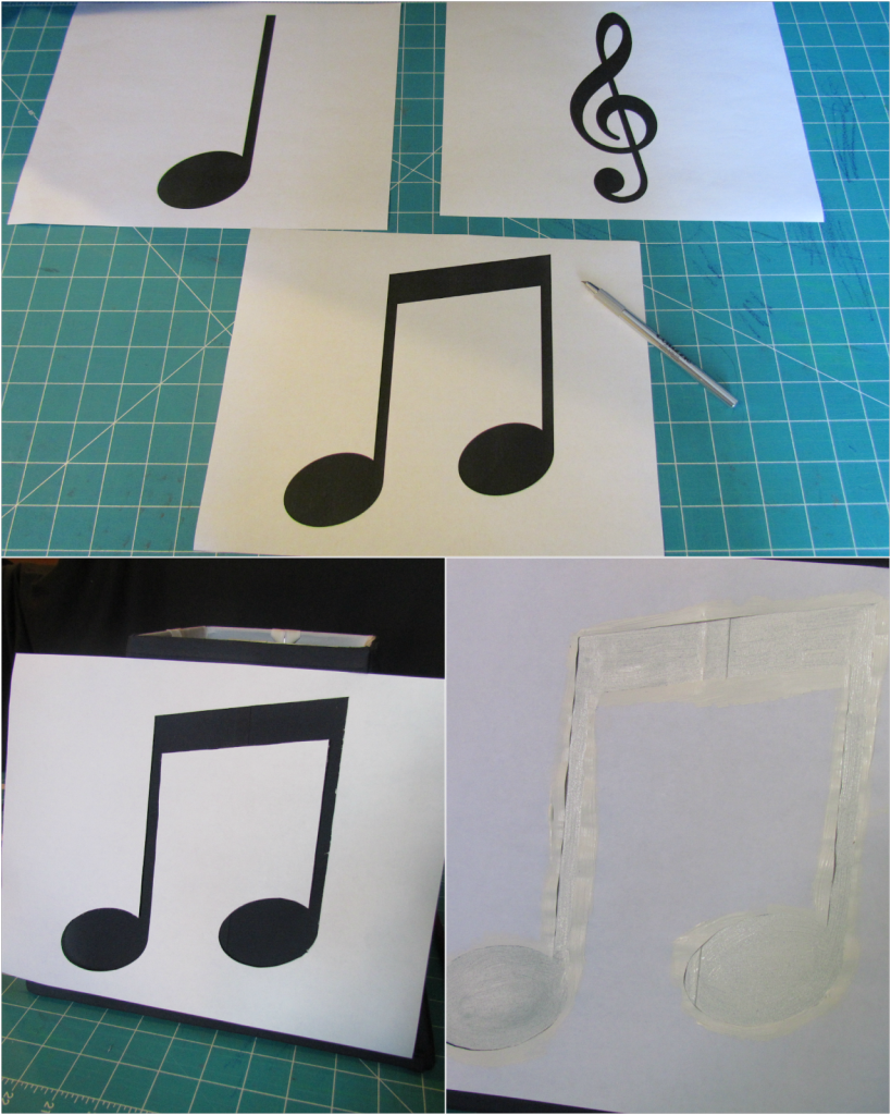 Musical stencils for a clarinet lamp