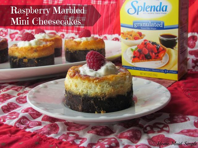 Raspberry Marbled Mini Cheesecakes with Splenda No Calorie Sweetener #Moms4JNJConsumer #ad