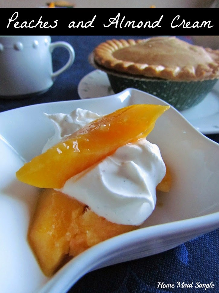 Peaches and Almond Cream pair perfectly with Marie Callenders Pot Pies #WarmthInACrust #ad