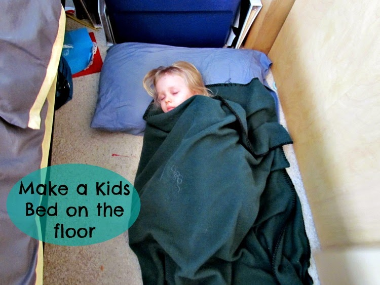Make a bed on the floor by your bed, for kids struggling to sleep due to Daylight Savings Time.