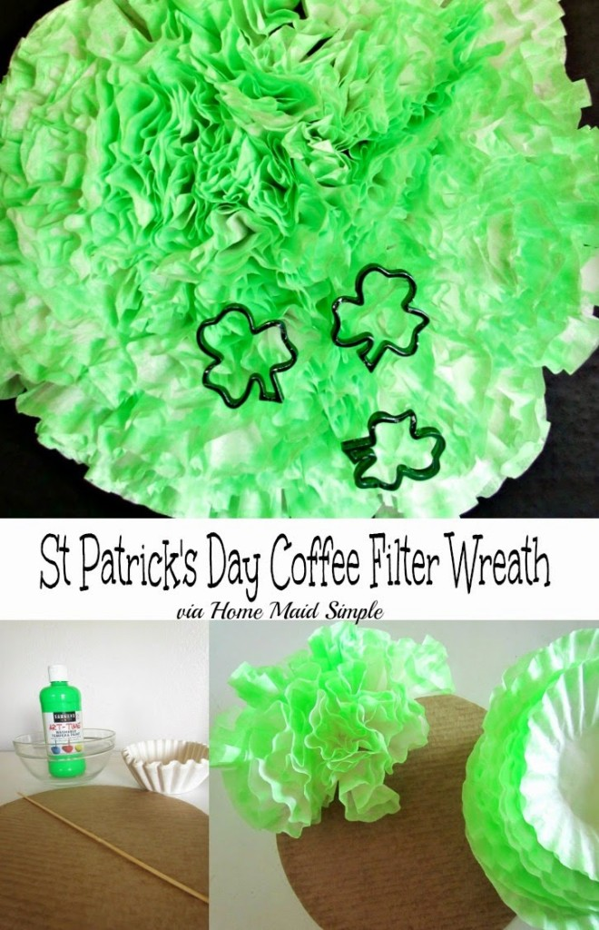 Easy St Patricks Day Coffee Filter Wreath. Use items around the home to make the day more festive.