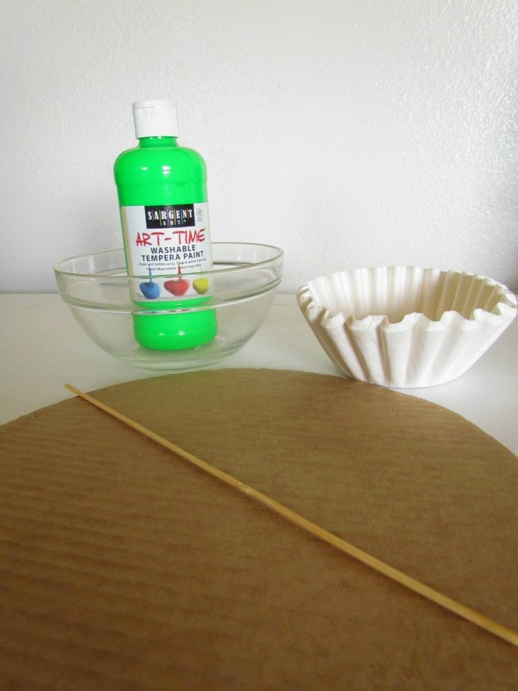Supplies needed for a Coffee Filter Wreath. St Patty's style.