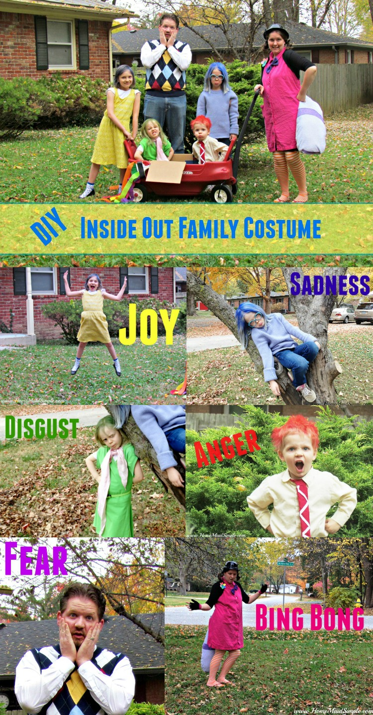 Be the hit of all costume parties with this DIY Inside Out Family Costume! The perfect Halloween party costume.