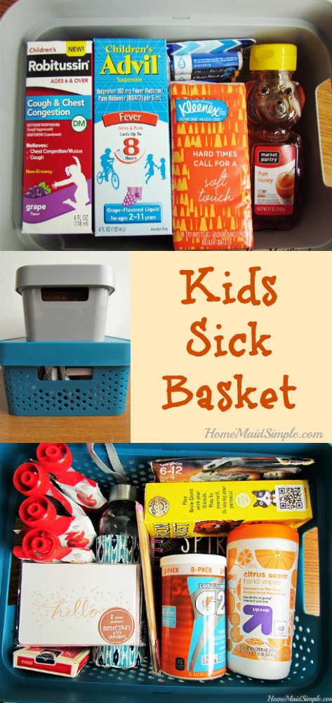 Put together a Sick Kids Basket for those days they just don't feel good, but don't want to sit on the couch.