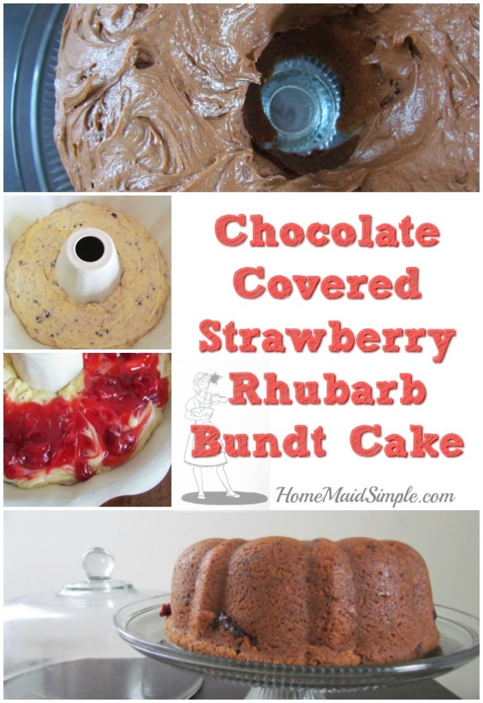 Decadent Chocolate Covered Strawberry Rhubarb Bundt Cake