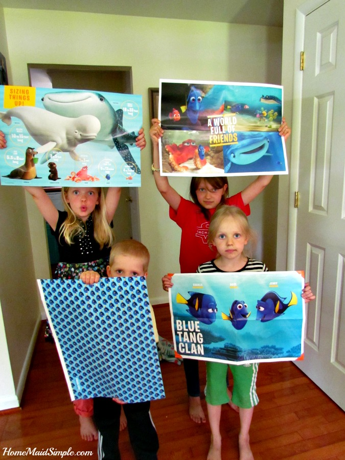 Fun posters for everyone in Dory's Adventure Poster-A-Page book. ad
