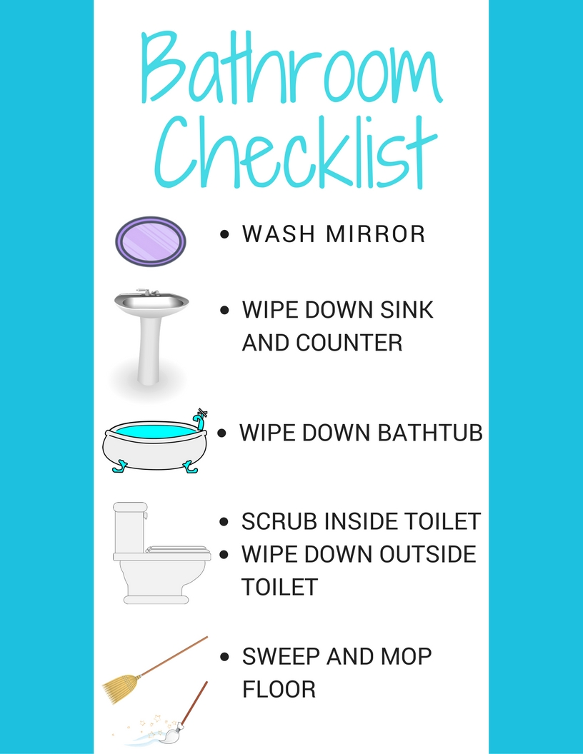 Download this FREE Printable Bathroom Cleaning Checklist for kids! Laminate it for a wipeable surface to use over and over again. #ScrubTheMess #ad