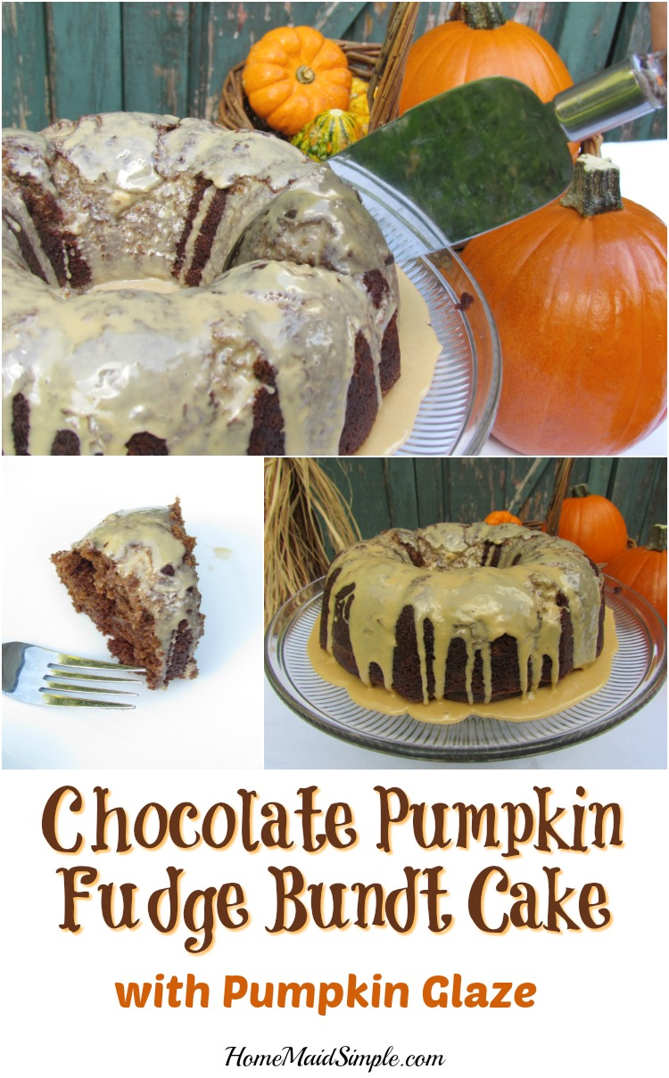 Chocolate Pumpkin Fudge Bundt Cake with Pumpkin Glaze recipe
