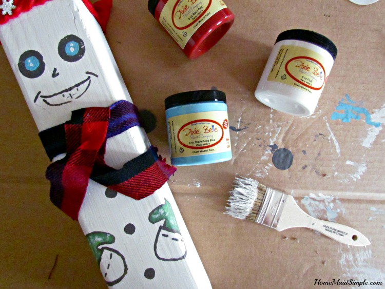 DIY wooden Snowman Blocks add whimsical fun to your winter porch with Dixie Belle Paints.ad
