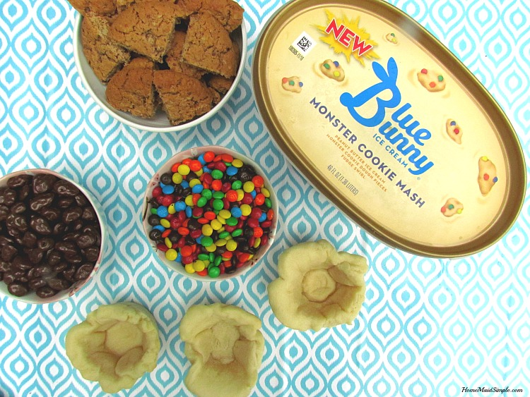 Blue Buny® Monster Cookie Mash ice cream in Sugar Cooke Ice Cream Bowls. ad