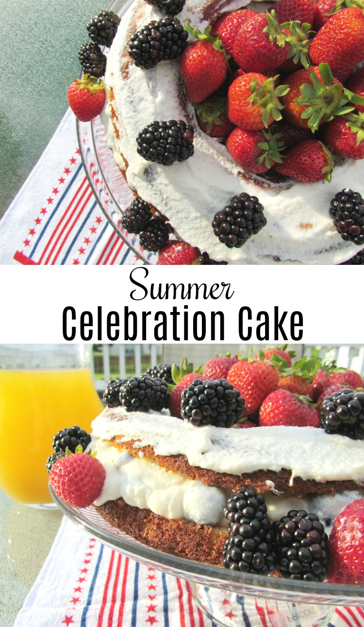 Summer Celebration Cake is a low calorie low sugar option for your summer parties. AD