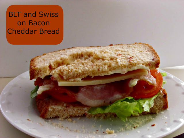BLT and Swiss on Bacon Cheddar Bread