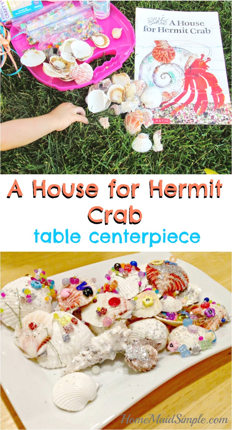 Bring A House for Hermit Crab to life with this table centerpiece the kids can make. I love how little help they need from me for this one!