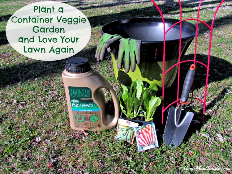 Plant a Container Veggie Garden and repair patches in your lawn all in one morning! #LoveYourLawn #ad