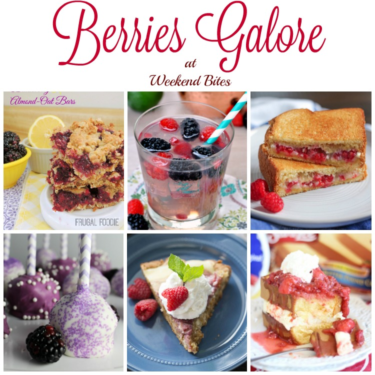 Berry Recipes galore at Weekend Bites food party. Hosted on HomeMaidSimple.com