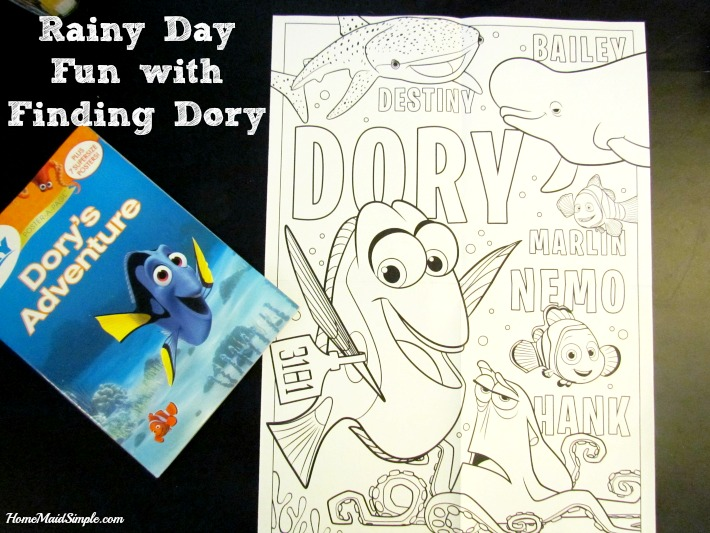 Have a little fun with Dory's Adventure Poster-a-page book.