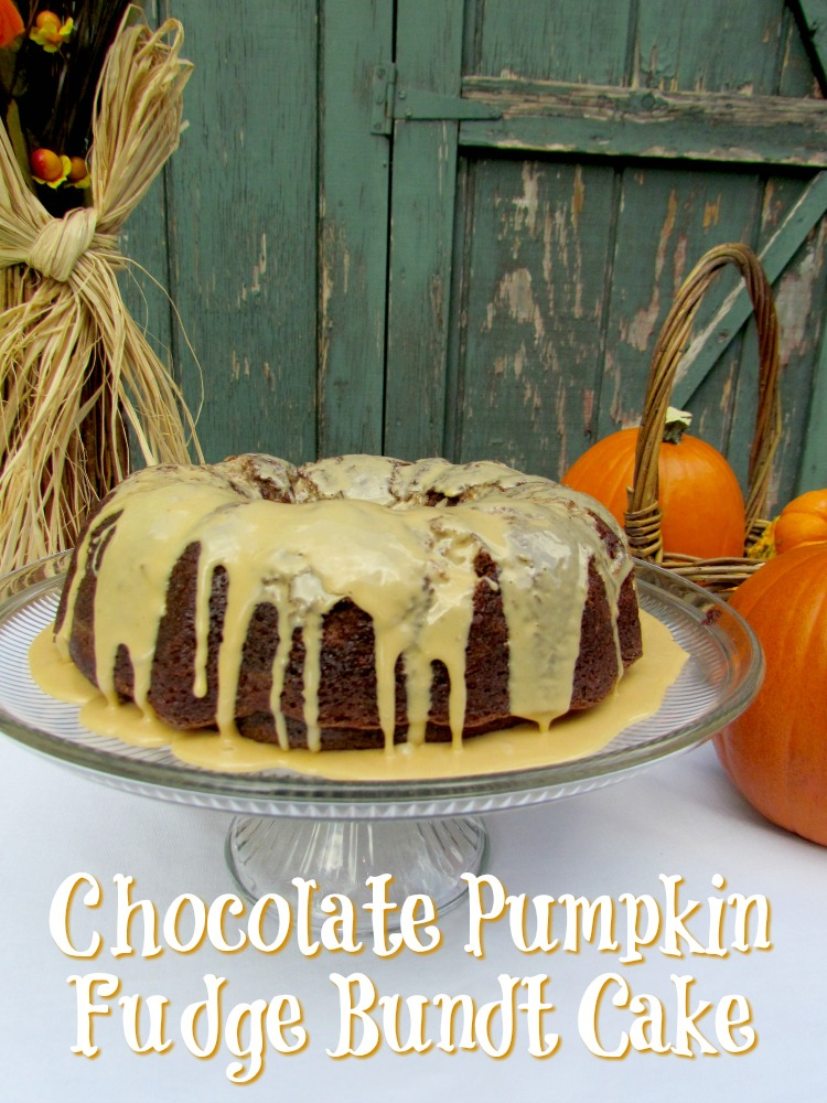 Chocolate Pumpkin Fudge Bundt Cake with Pumpkin Glaze