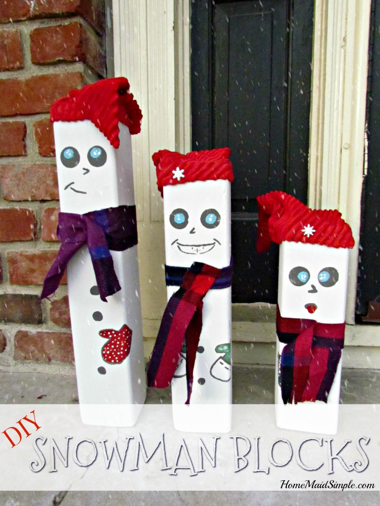 DIY Snowmen Blocks add the perfect touch to your porch decor.