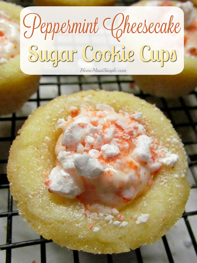 Peppermint Cheesecake Sugar Cookie Cups