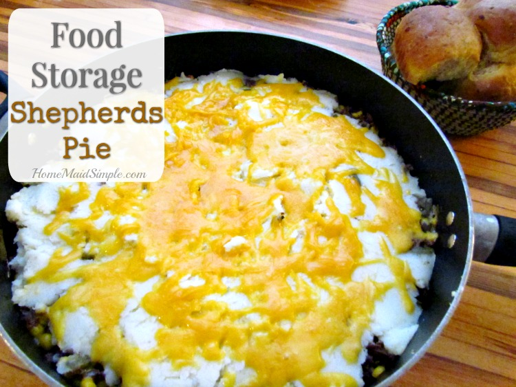 Food Storage Shepherds Pie is made completely with items from your food storage.