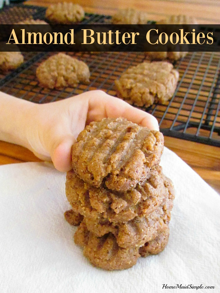 Grab this recipe for Almond Butter Cookies.