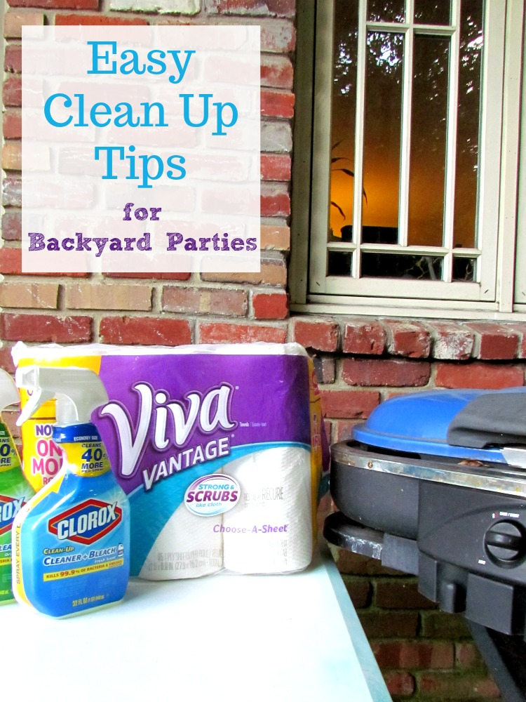 Easy Clean Up Tips with Viva and Clorox for all your summer backyard parties. AD #UnleashTheCleanSquad