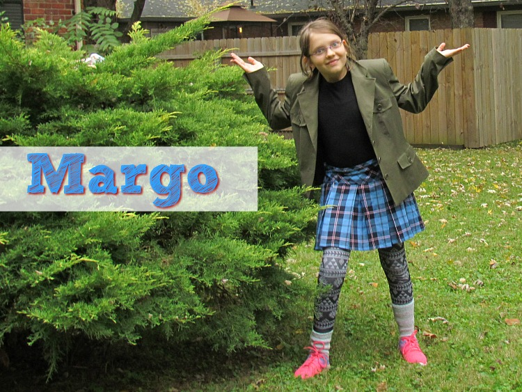 Dress as Margo the oldest sister from Despicable Me.