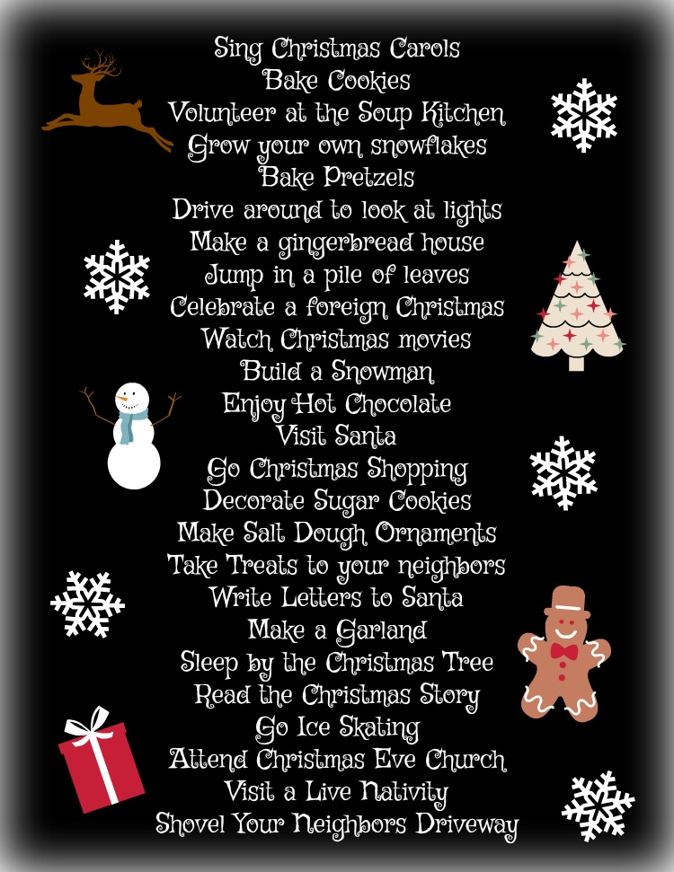 25 Advent Activities to countdown to Christmas.