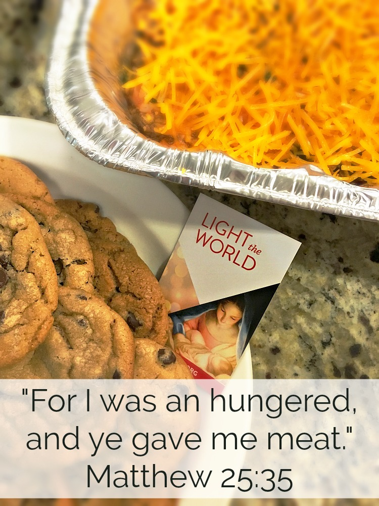 "Jesus taught ""For I was an hungered and ye gave me meat"" Matthew 25:35 This season spend time making meals for someone who could really use it. #LightTheWorld"