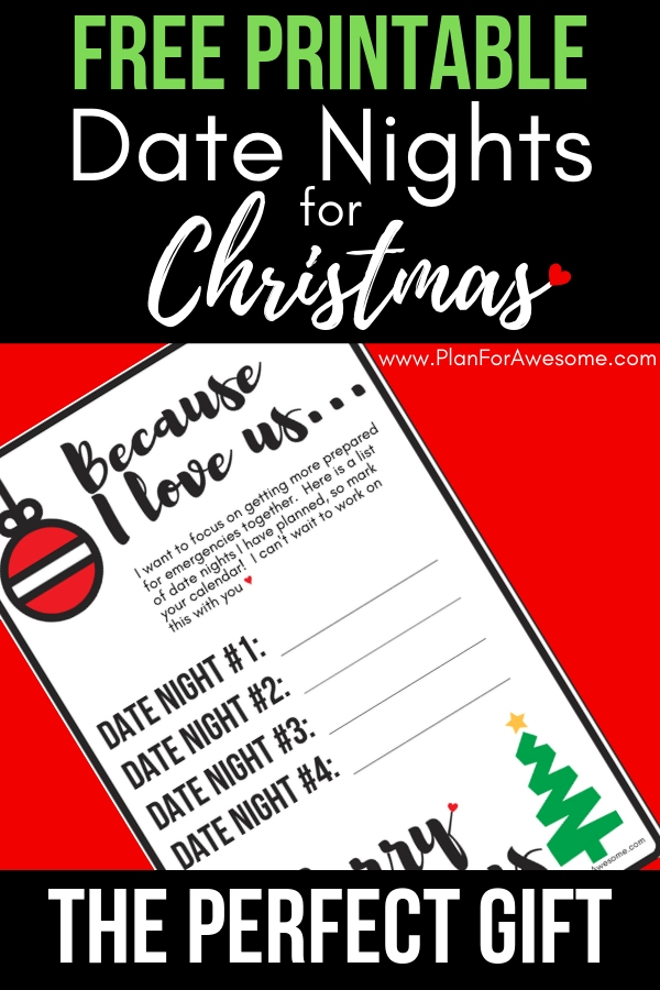 Grab your Free Printable Date Nights for Christmas with the first in a series of Emergency Preparedness date nights!