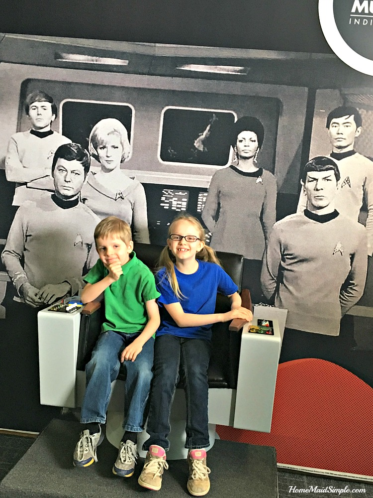 Sit in Captain Kirk's chair at the Star Trek exhibit at The Children's Museum of Indianapolis