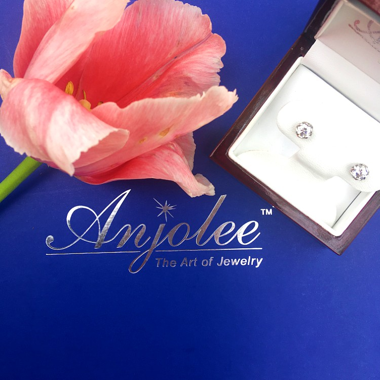 Anjolee Diamond Stud Earrings for Mothers Day